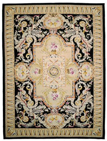Aubusson 13 x 18 in Beige/Black