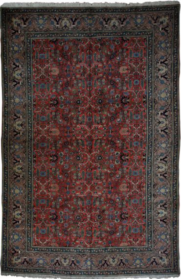 Antique Persian Sarouk 9 x 14 in Red