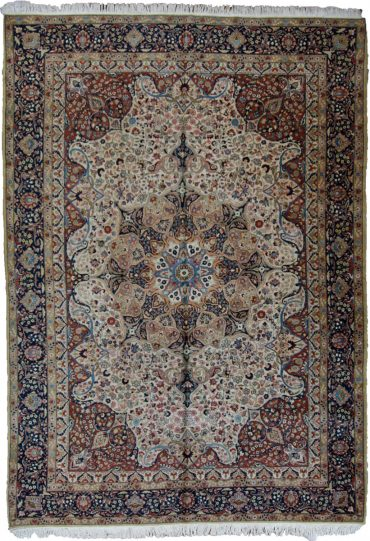 Antique Persian Tabriz 9 x 12 in Ivory