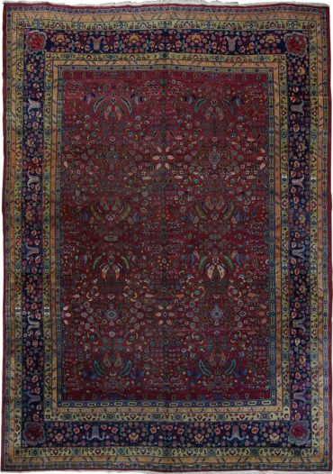Antique Persia Meshad 10 x 13 in Red/Blue