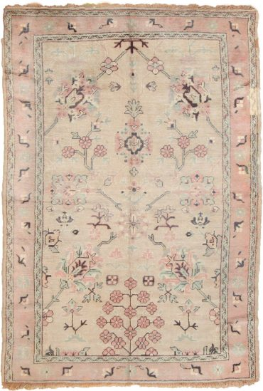 Antique Anatolia Oushak 5 x 8 in Pink/Beige