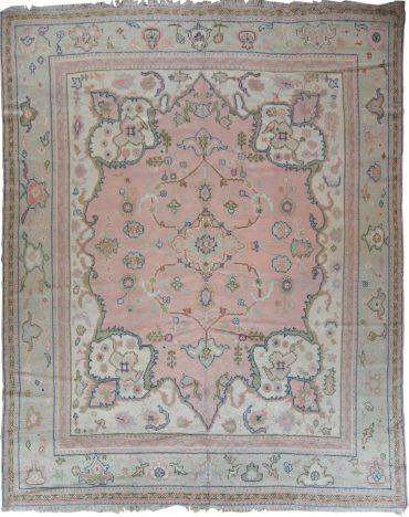 Antique Anatolia Oushak 9 x 12 in Pink/Ivory