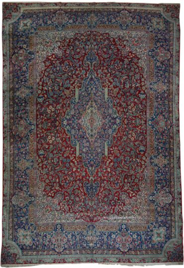 Antique Persia Kerman 9 x 13 in Red/Blue