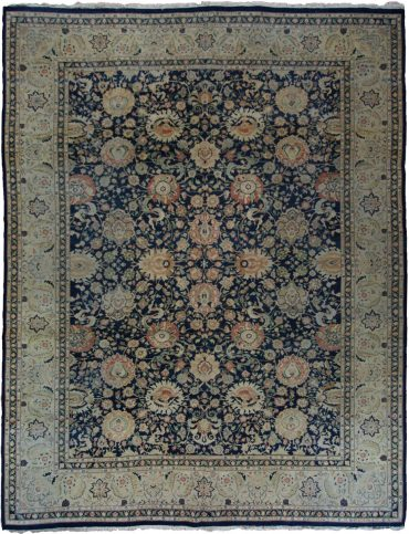 Antique Persian Tabriz 9 x 11 in Ivory/Navy Blue