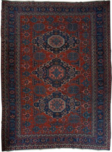 Antique Caucasian Soumak 8 x 12 in Blue/Red