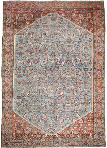 Antique Persia Heriz 8 x 11 in Blue