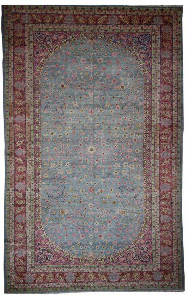 Antique Anatolia Oushak 7 x 12 in Pink/Blue