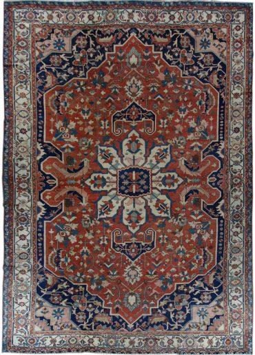 Antique Persia Serapi 10 x 13 in Blue/Red