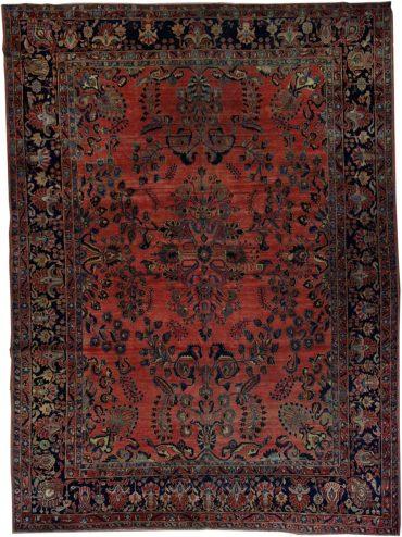 Antique Persia Sarouk 9 x 12 in Blue/Red