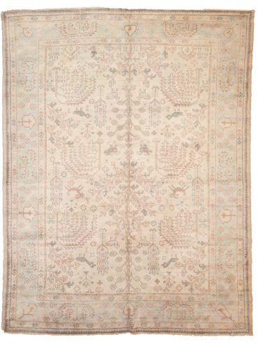 Antique Anatolia Oushak 7 x 9 in Beige/Light Green