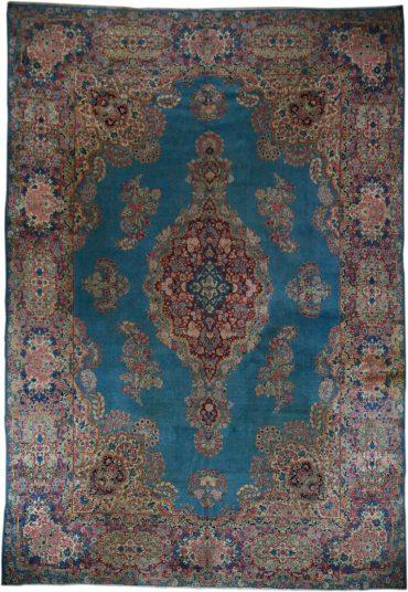 Antique Persia Kerman 10 x 14 in Blue/Pastel20097
