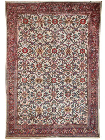 Antique Persia Mahal 7 x 11 in Red/Ivory