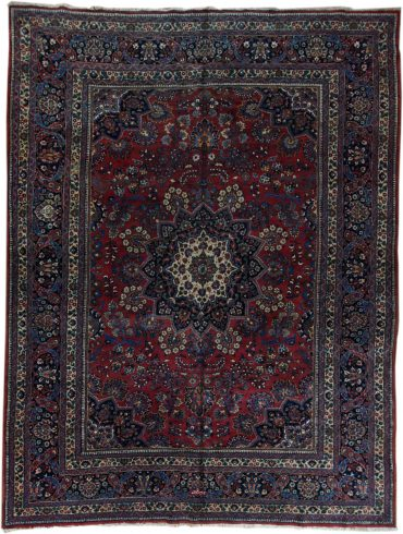 Antique Persia Meshad 10 x 14 in Red/Blue