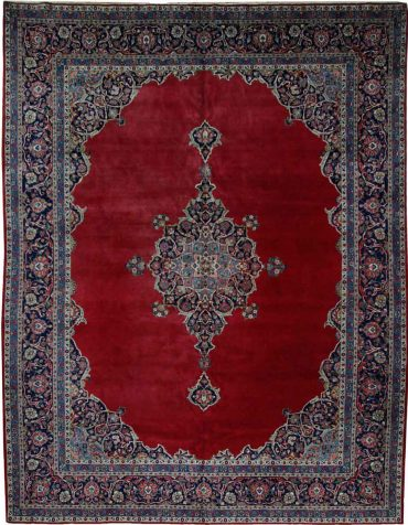 Antique Persian Kashan 9 x 12 in Red/Blue