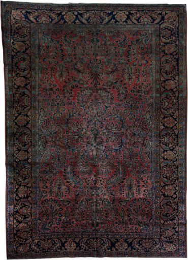 Antique Persian Sarouk 8 x 11 in Red/Blue