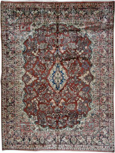 Antique Persian Sarouk 8 x 12 in Red/Burgundy