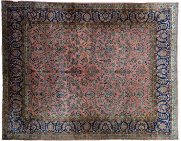 Antique Persian Kashan 9 x 11 in Salmon/Green