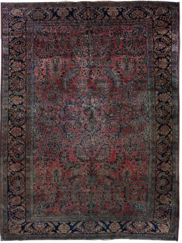 Antique Persian Sarouk 8 x 11 in Red/Blue33330
