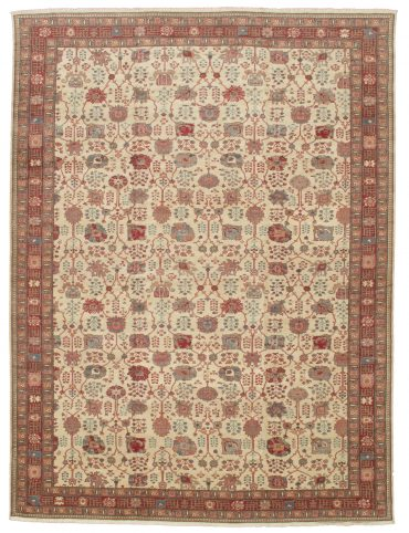 Romanian Sultanabad Rug 12×16 in Ivory/Red