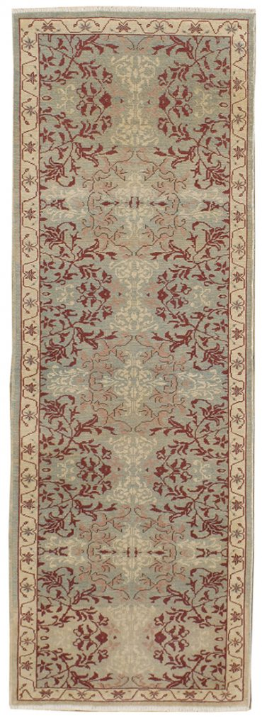 Romanian Sultanabad 2×7 in Light Green/Ivory
