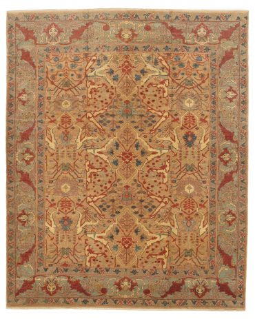 Romanian Sultanabad Rug 12×14 in Gold/Light Green