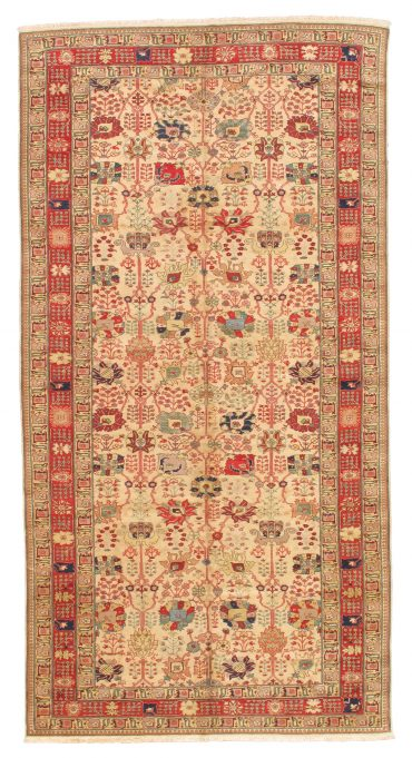 Romanian Sultanabad Rug 7×13 in Beige/Red