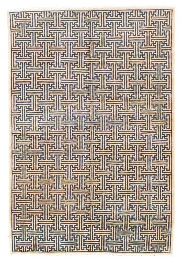 Pakistan Art Deco Rug 6×8 in Beige/Black