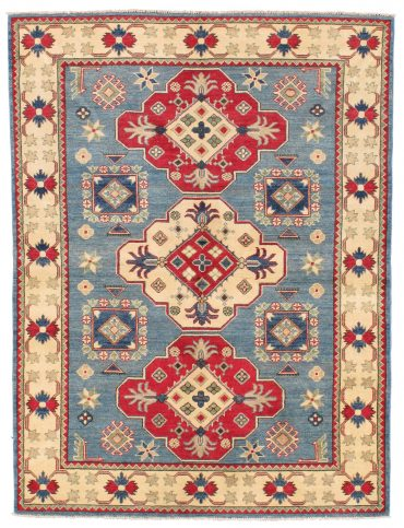 Kazak Rug 4×6 in Light Blue/Ivory