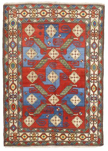 Kazak Rug 6×8 in Red/Blue/Ivory/Green